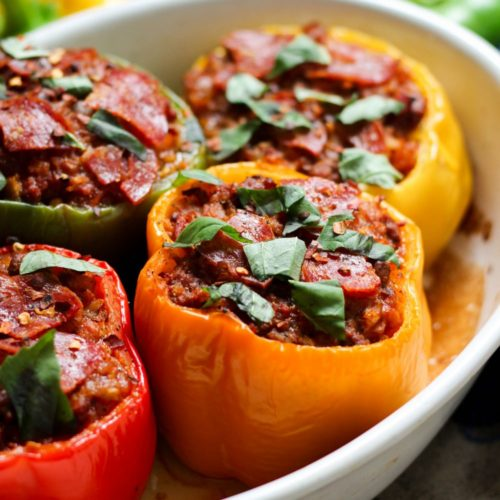 Whole30 & Paleo Pizza Stuffed Peppers