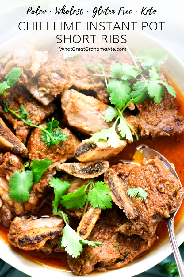 These #Paleo and #Whole30 Chili Lime Short Ribs are crazy easy to make in the Instant Pot, and you'll have the most delicious, fall-off-the-bone dish at the end of it. They are also #lowcarb and #keto! #lchf #glutenfree #shortribs #instantpot #instantpotdinner