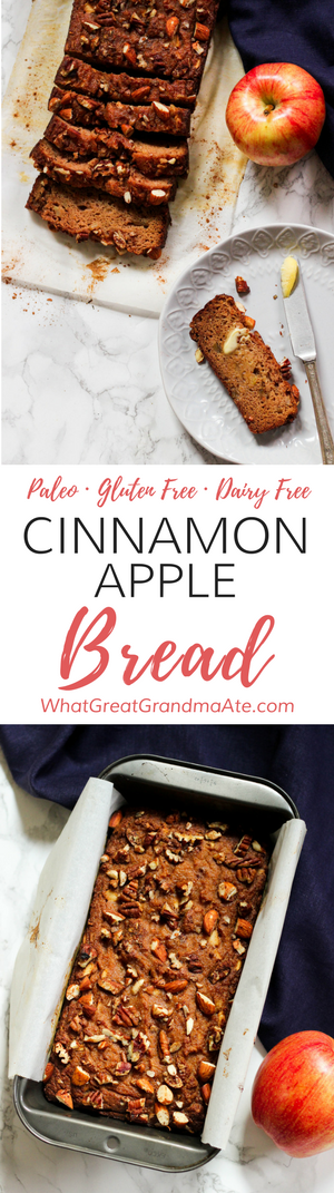 This easy #Paleo Apple Cinnamon Bread is so comforting and delicious with a hot mug of coffee, and you'll love the crunchy nut topping! #blenderbread #paleobread #glutenfree #grainfree #dairyfree