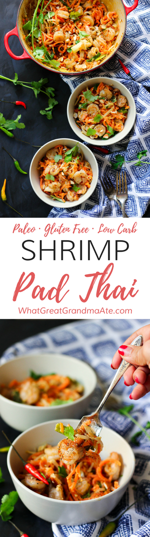 Simple and delicious #Paleo Shrimp Pad Thai made with spiralized carrots! #glutenfree #dairyfree #ad #lowcarb #thaifood