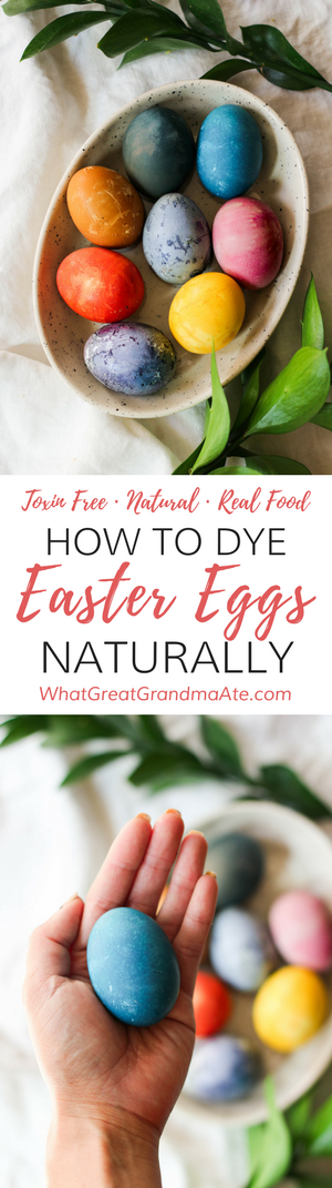 Learn how to dye Easter eggs naturally using real food ingredients, and without any chemical laden food dyes. It's easy and the colors are so vibrant and fun! 