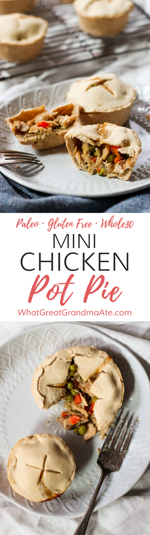 These Mini #Whole30 and #Paleo Chicken Pot Pies are so fun to make and delicious as well with the creamy chicken filling! #glutenfree #dairyfree