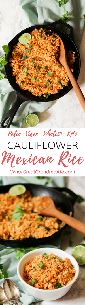 Get a taste of Mexican restaurant at home with this yummy paleo and vegan Cauliflower Mexican Rice! It tastes like the real deal but it's Whole30 and keto-friendly. 