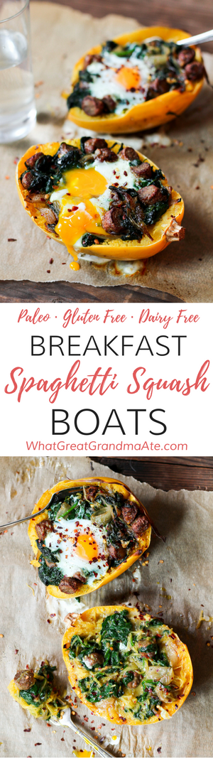 These Paleo Breakfast Spaghetti Squash Boats are a comforting meal filled with all your favorite breakfast items, while being healthy and delicious! @jonesdairyfarm #JonesDairyFarm #Sponsored #Ad #paleo #brunch #breakfast #glutenfree #dairyfree #healthy #realfood