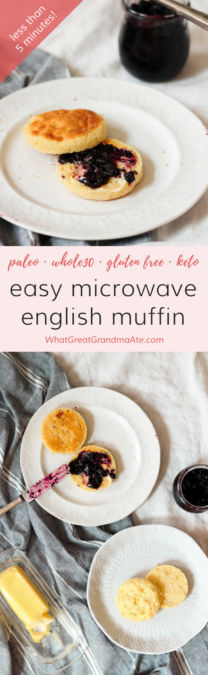 You can make the fluffiest Paleo English Muffin in less than 5 minutes using the microwave! It's a Whole30 and keto recipe that's so easy and delicious. 