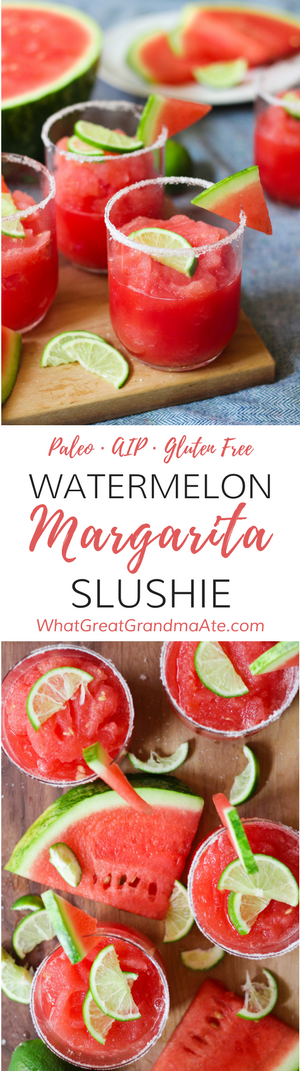 ThisPaleo Watermelon Margarita Slushie is a deliciously refreshing cocktail or mocktail that'll cool you down instantly on a hot day! #cocktail #margarita #paleo #aip #cincodemayo #autoimmune protocol #mocktail #glutenfree #dairyfree