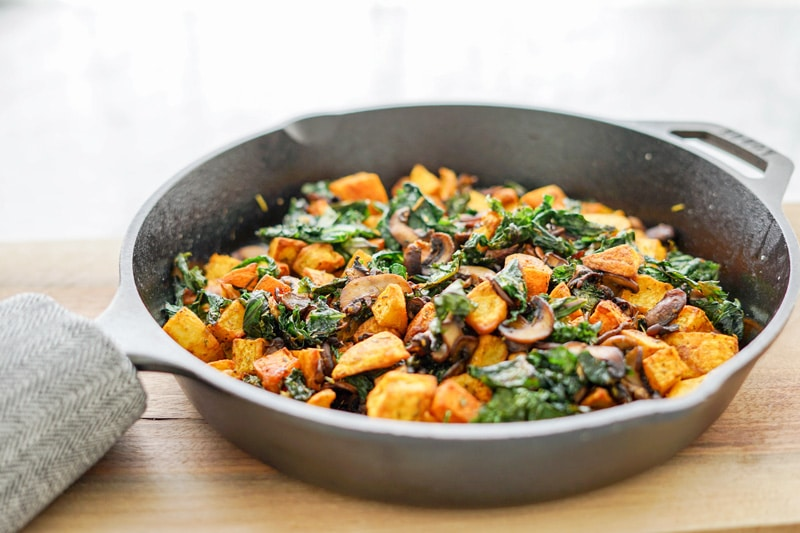 aerial view of Potato, Mushroom and Kale Hash in cast-iron skillet Print POTATO, MUSHROOM AND KALE HASH SKILLET