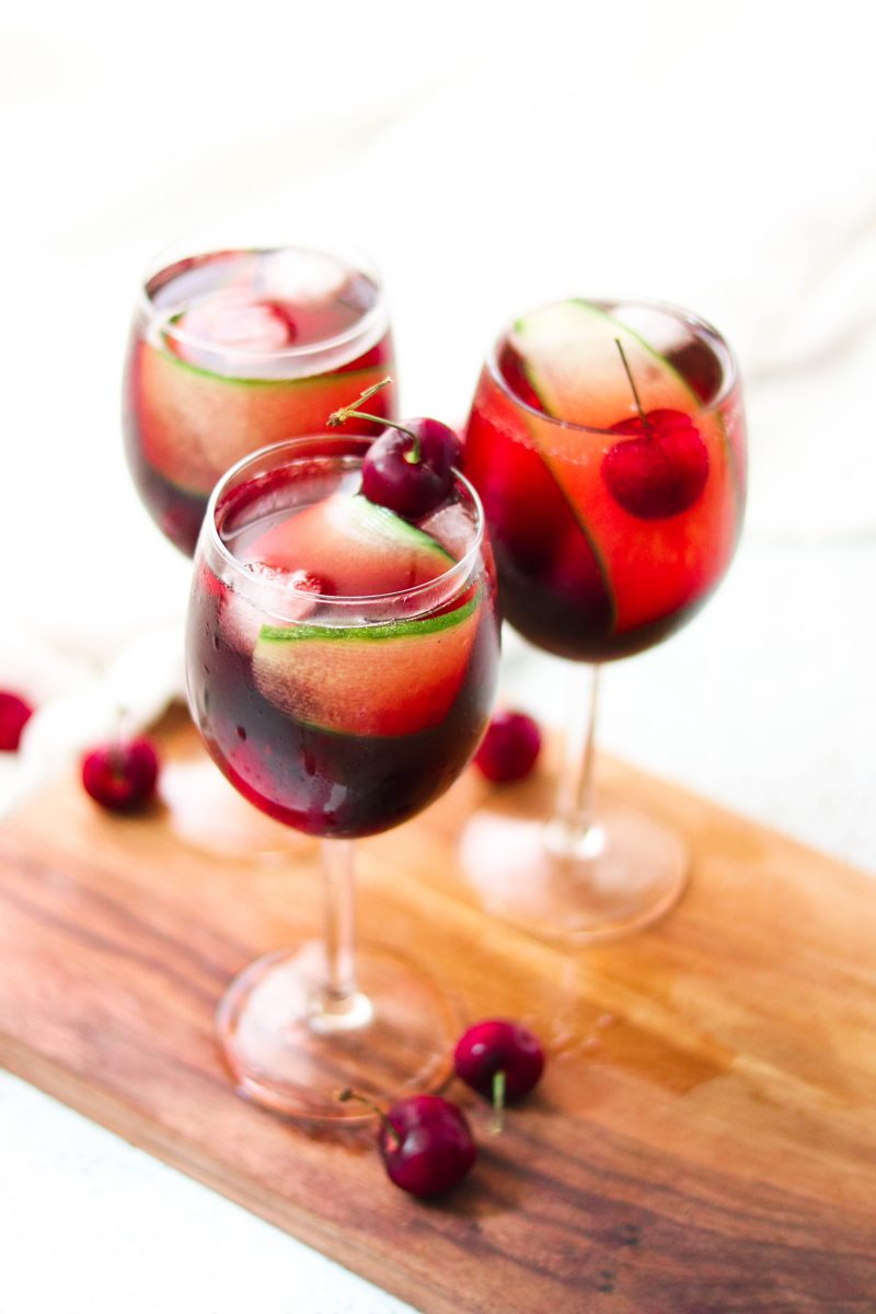 Low Sugar Cocktails: Cherry Cucumber Prosecco Spritz