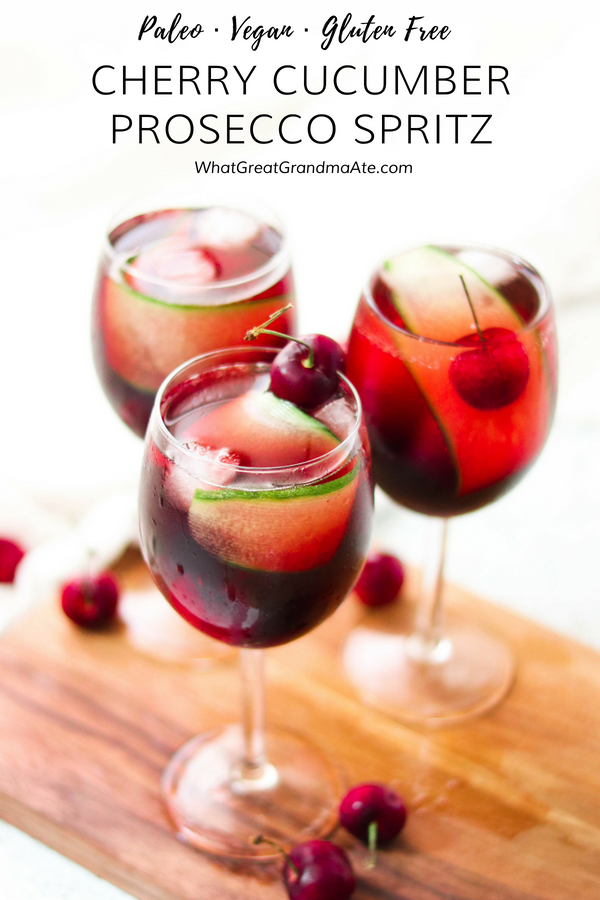 This Cherry Cucumber Prosecco Spritz is a delicious and refreshing cocktail that will cool you down instantly in the summertime! #ad #RiondoProsecco #ItalianForsummer #nationalproseccoday #cocktail #summerrecipe #paleo #vegan #glutenfree #dairyfree #summercocktail