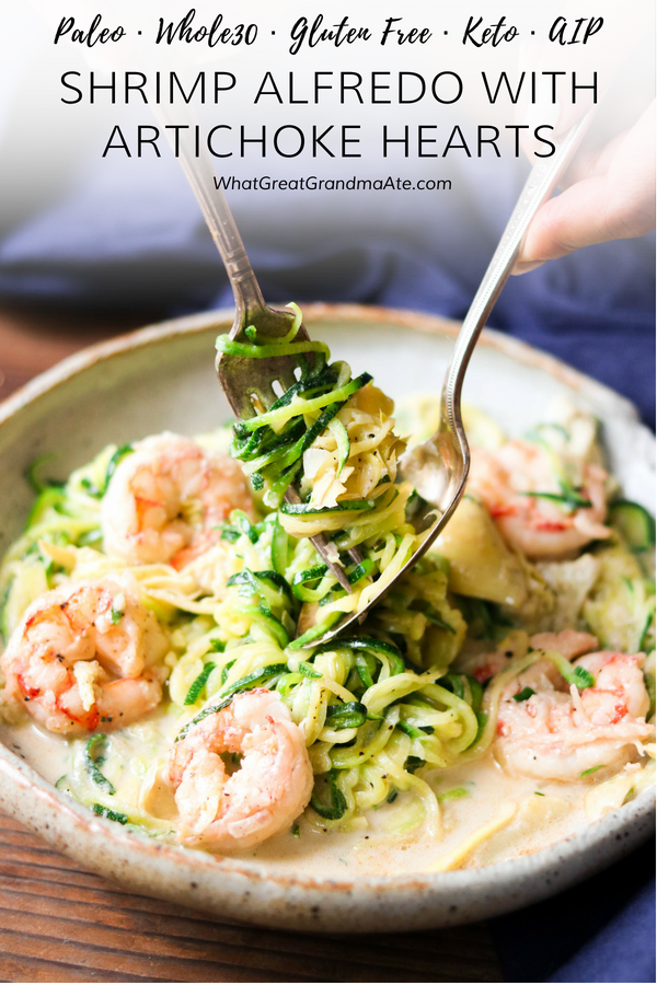 This delicious and easy Paleo Shrimp Alfredo with Artichoke Hearts is lightened up by using zucchini noodles and creamy, dairy free sauce! #StepOutOfYourComfortFood #Ad #paleo #dairyfree #lowcarb #keto #glutenfree #grainfree #aip #autoimmuneprotocol #seafood