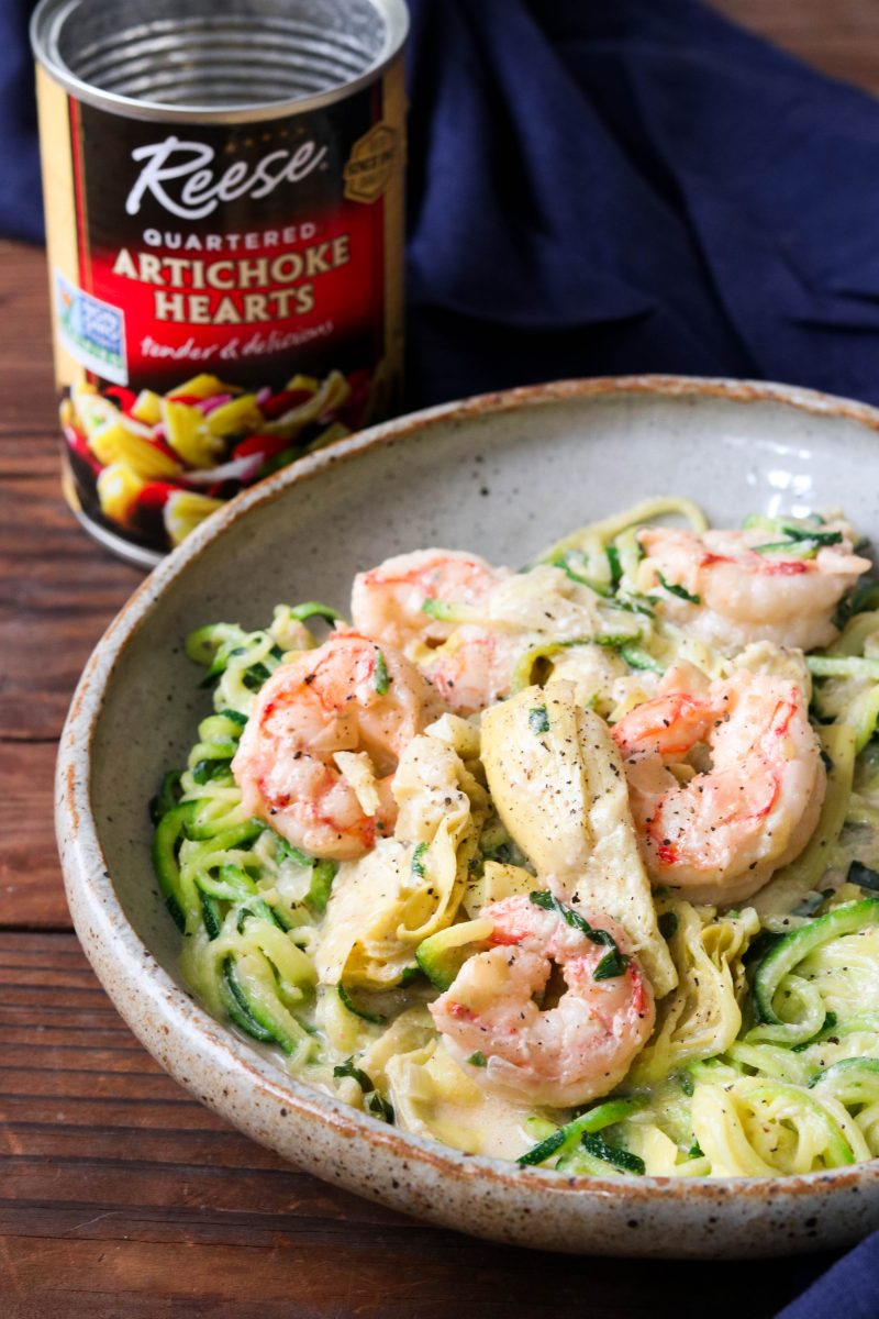 Paleo Shrimp Alfredo with Artichokes