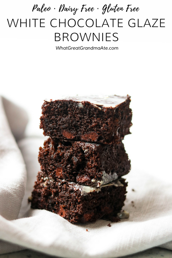 These fudgy and decadent Paleo Brownies are so delicious with the white chocolate glaze, you'll want to make it over and over again! #paleo #dessert #glutenfree #dairyfree #paleodessert #glutenfreedessert #sweets