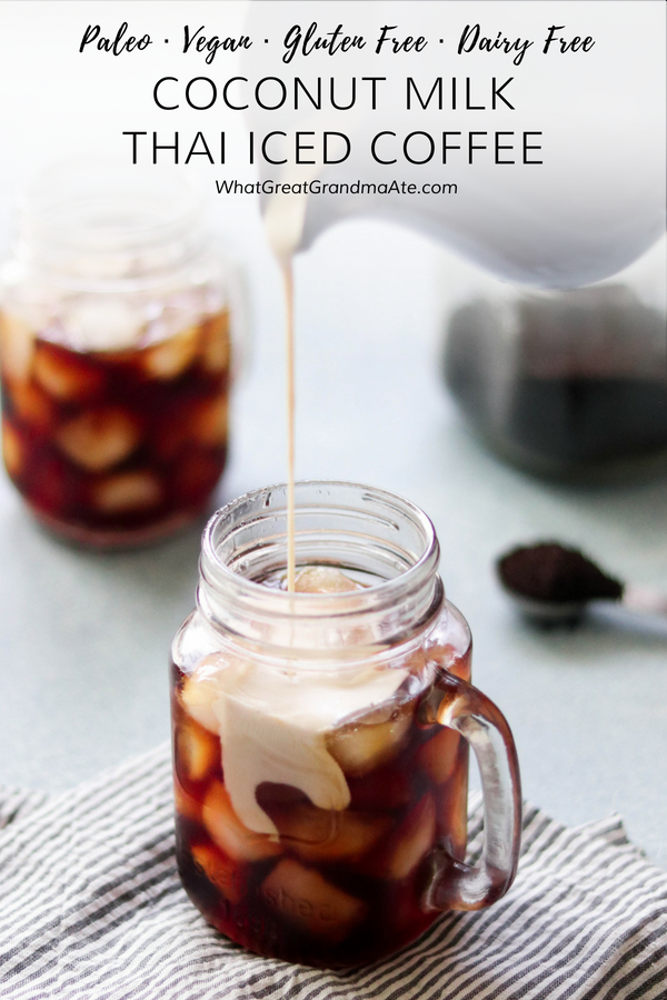 Enjoy this sweet and creamy Coconut Milk Thai Iced Coffee with all the flavors and no dairy! It's a paleo and vegan version of everyone's favorite iced coffee, made with sweetened condensed coconut milk. #paleo #vegan #dairyfree #glutenfree #paleodrink #coffee