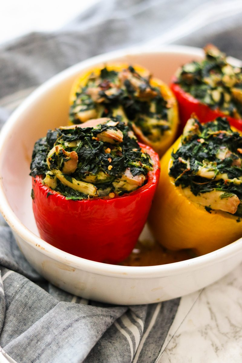 Spinach Chicken Paleo Stuffed Peppers