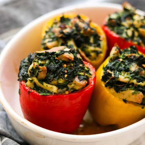 Spinach and Chicken Paleo Stuffed Peppers (Whole30, Keto)