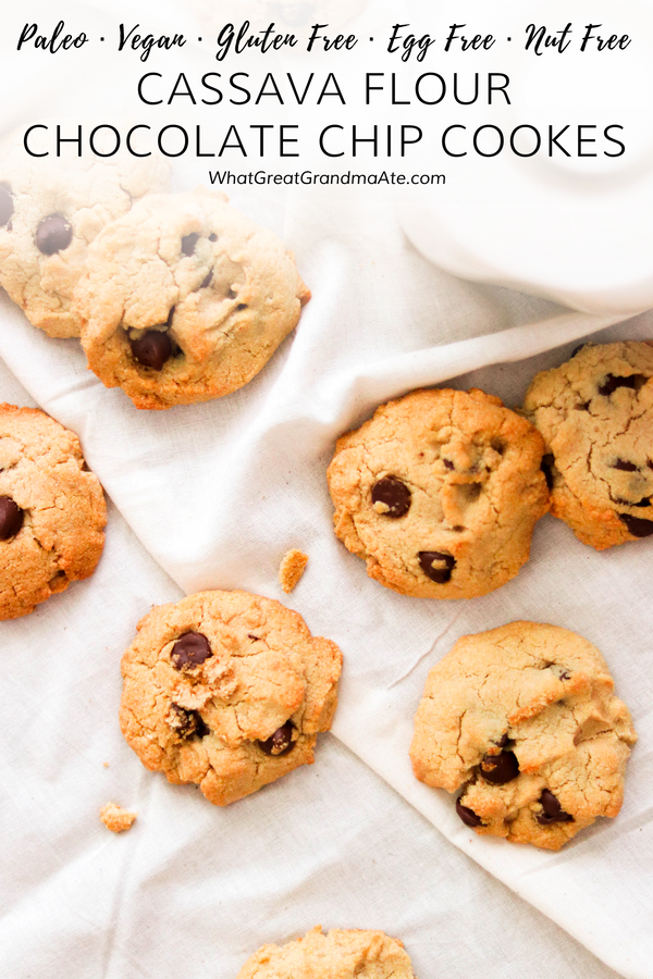 Don't let food allergies stop you from indulging in treats! These soft and chewy Nut-Free Cassava Flour Chocolate Chip Cookies are also paleo, vegan, gluten free, and egg free! #paleo #vegan #cookies #chocolatechipcookies #glutenfree #dairyfree #nutfree #eggfree #grainfree #paleodessert #vegandessert