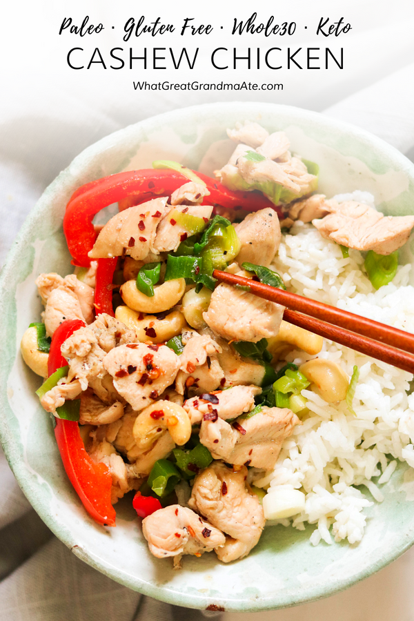 This Whole30 & Paleo Cashew Chicken is a quick and easy stir fry dinner, perfect on a weeknight! It's full of flavor and delicious textures. #paleo #whole30 #chickendinner #healthydinner #glutenfree #grainfree #realfood