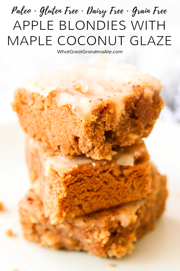 These Paleo Apple Blondies are moist and decadent, and topped off with the most amazing maple coconut glaze. It's a delicious treat for the Fall! #paleo #dessert #appledessert #glutenfree #dairyfree #glutenfreedessert #dairyfree #healthydessert #holidaydessert