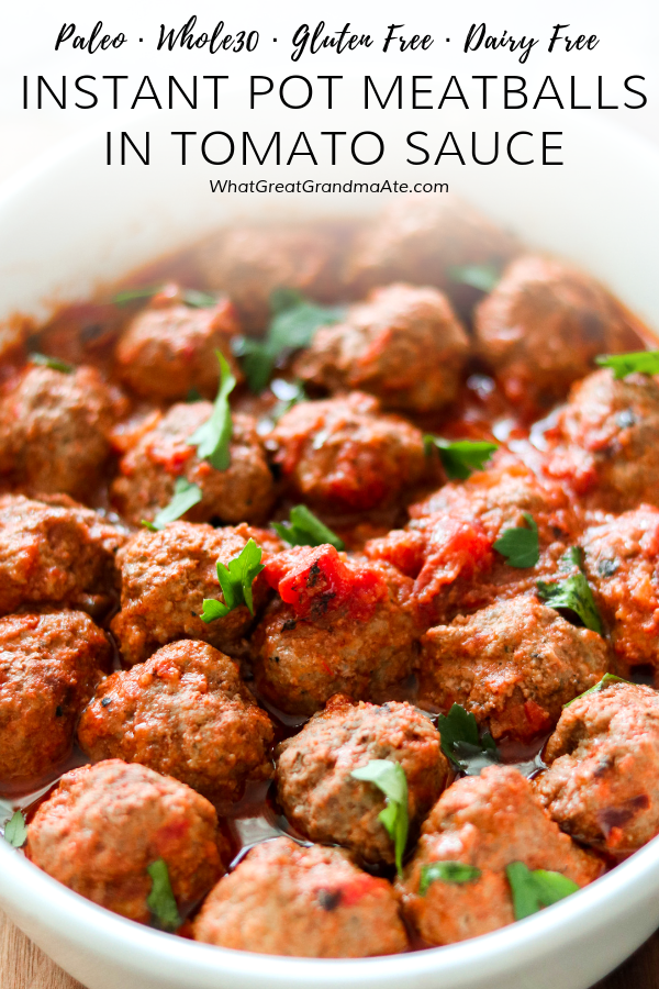 TheseInstant Pot Meatballs in Tomato Sauce are the ultimate comfort food that's paleo, Whole30, and kid-friendly! Enjoy it over zucchini noodles or cauliflower rice to keep it low carb. #instantpot #paleo #whole30 #glutenfree #lowcarb #comfortfood #paleoinstantpot #grainfree #dairyfree #kidfriendly