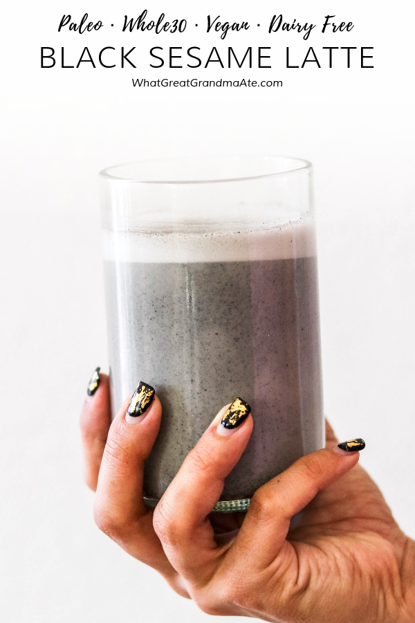 This black sesame latte is paleo, vegan, and Whole30-compliant, and it is so delicious and perfect for Halloween! It has the most addicting flavor. #paleo #vegan #latte #paleodrink #whole30 #halloweenrecipe #realfood #dairyfree #glutenfree #refinedsugarfree