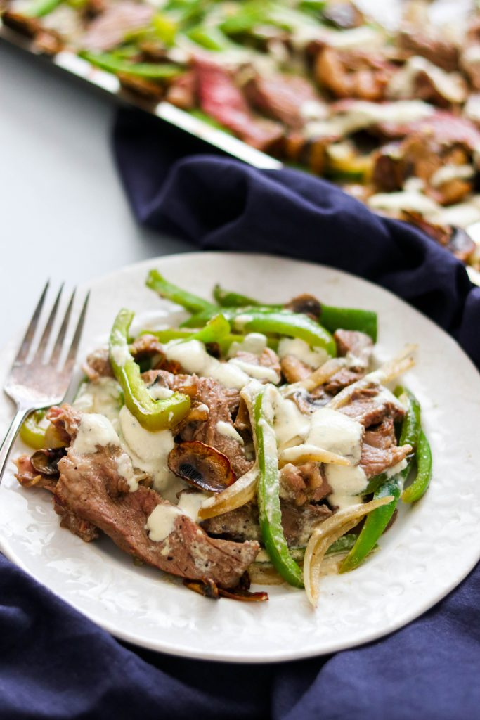 Sheet Pan Paleo Philly Cheesesteak