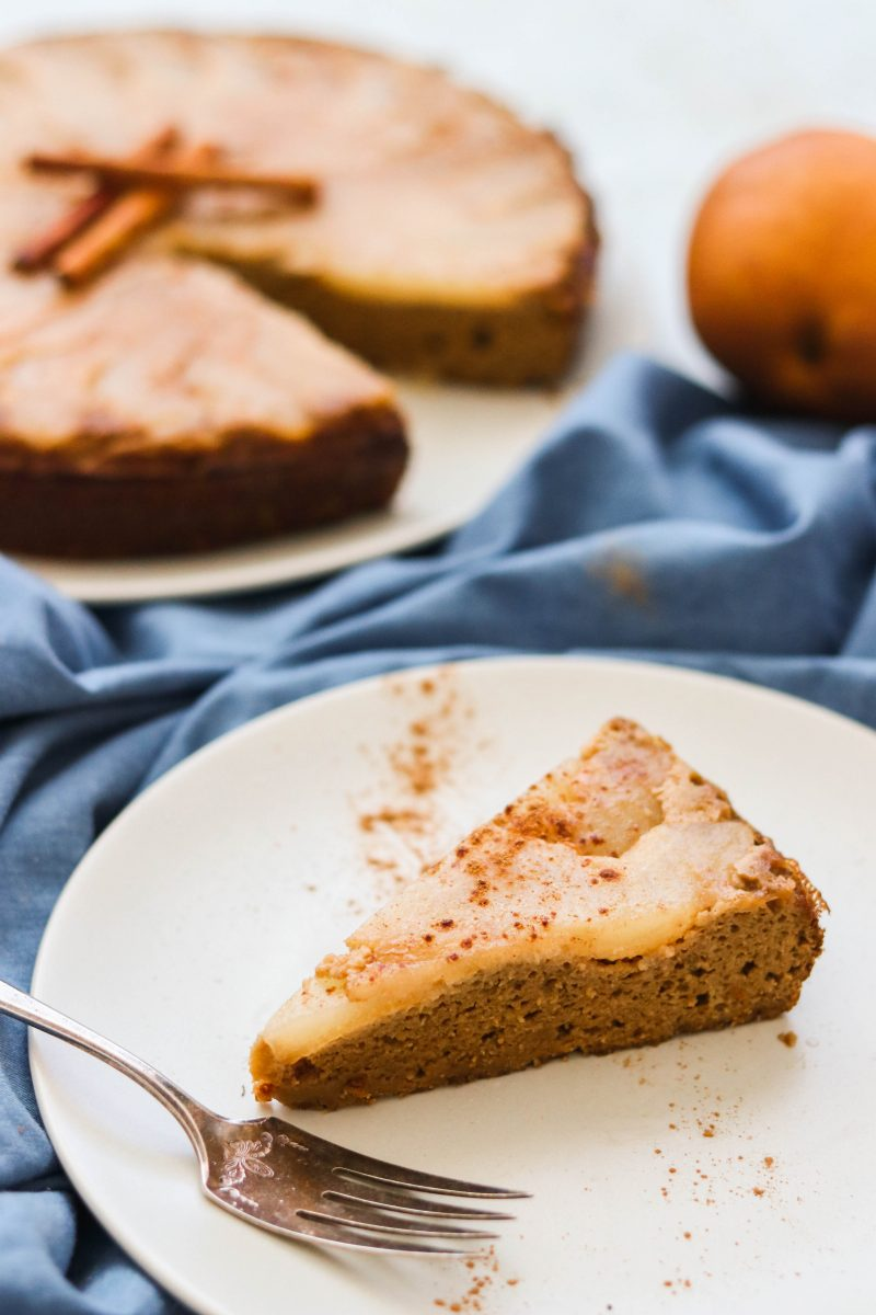 Paleo pear upside down cake