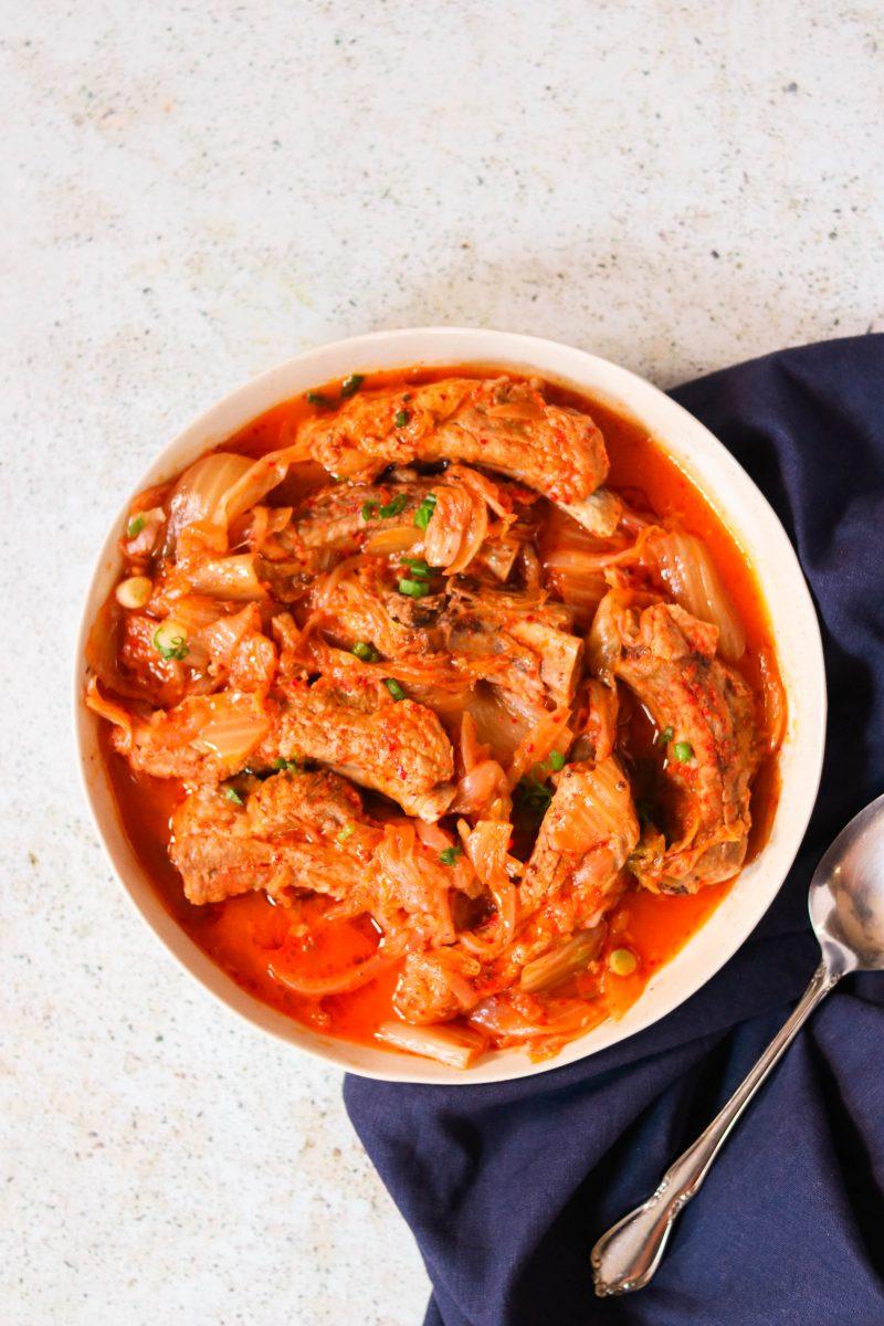 kimchi braised whole30 pork ribs