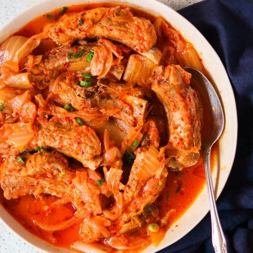 Kimchi Braised Keto & Whole30 Pork Ribs (Dweji Galbi Kimchi Jjim) – Stove Top & Instant Pot Method!