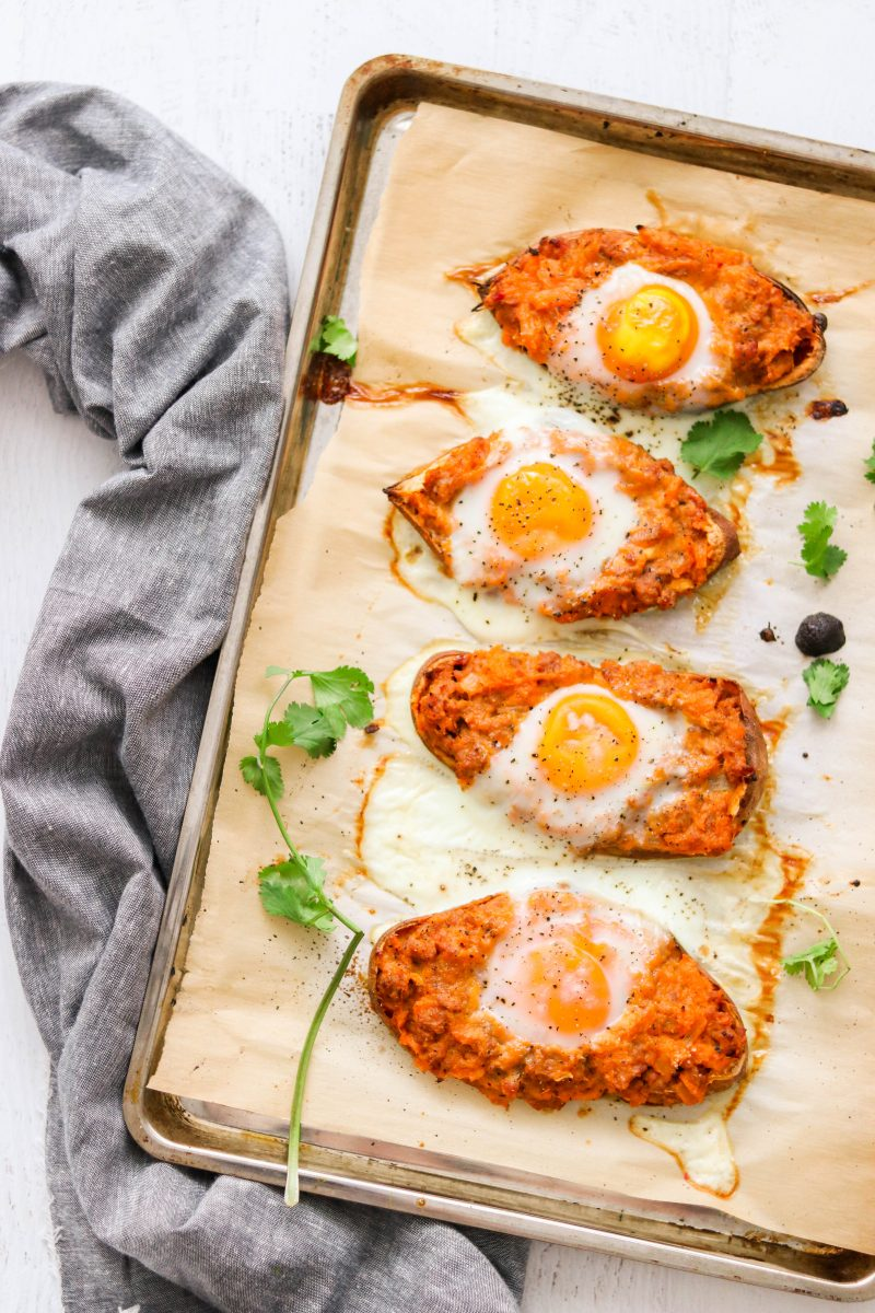 Chorizo Breakfast Twice Baked Sweet Potatoes-