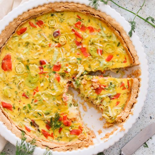 Paleo & Keto Quiche with Smoked Salmon and Leeks