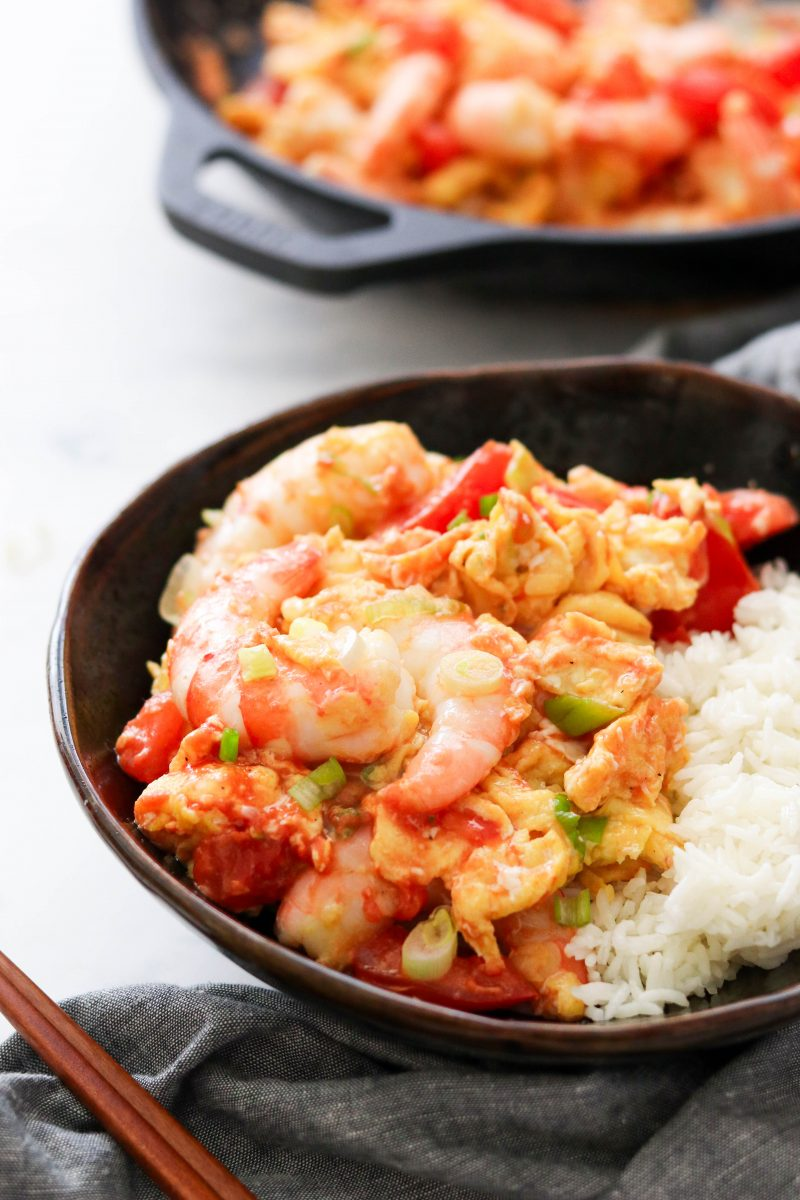 Silky Egg Stir-Fry with Jumbo Shrimp