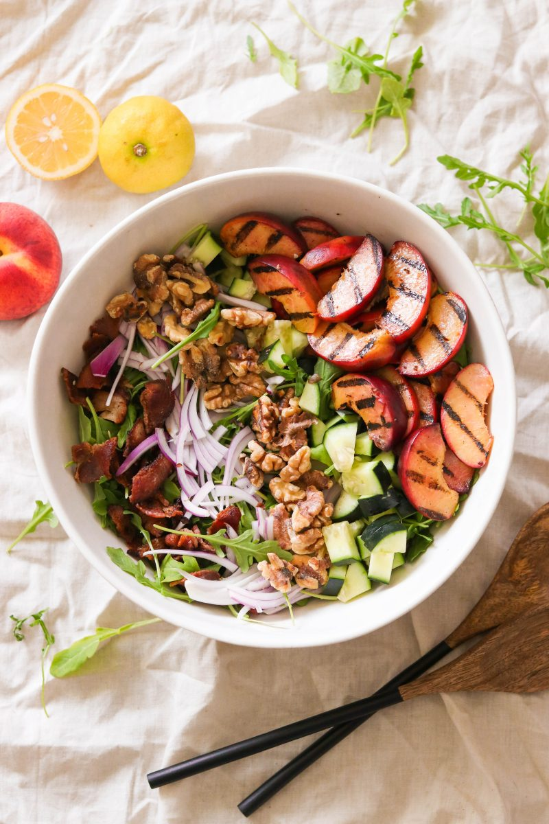 Whole30 Grilled Peach Salad With Bacon