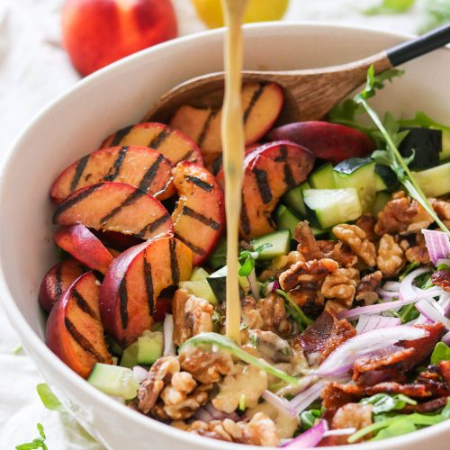 Paleo & Whole30 Grilled Peach Salad With Bacon