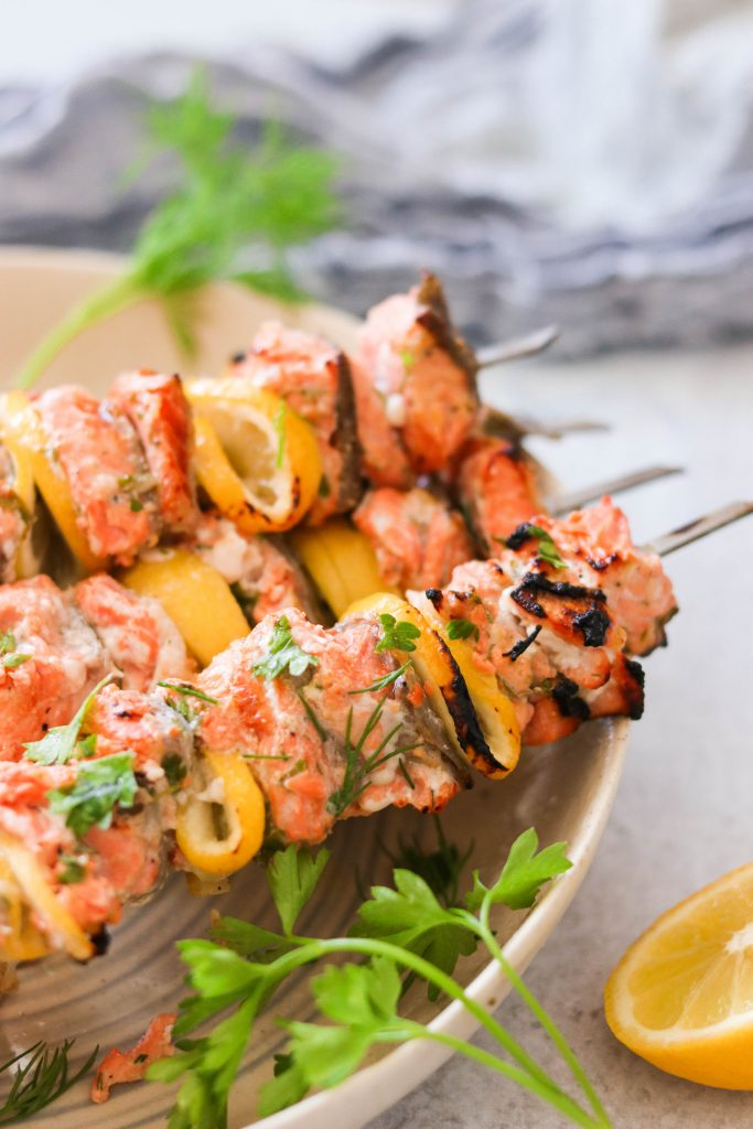 grilled salmon skewers close up