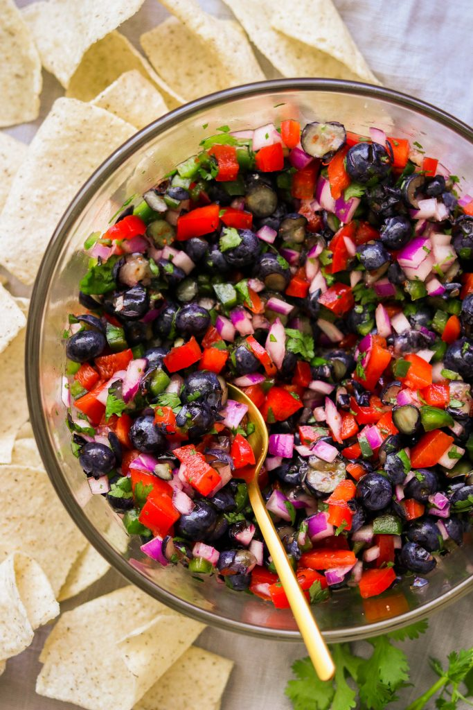 festive colors of this salsa make it perfect 4th of July dip recipe