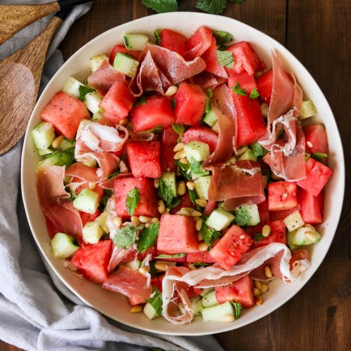 Watermelon Cucumber Salad with Prosciutto (Paleo, Whole30)