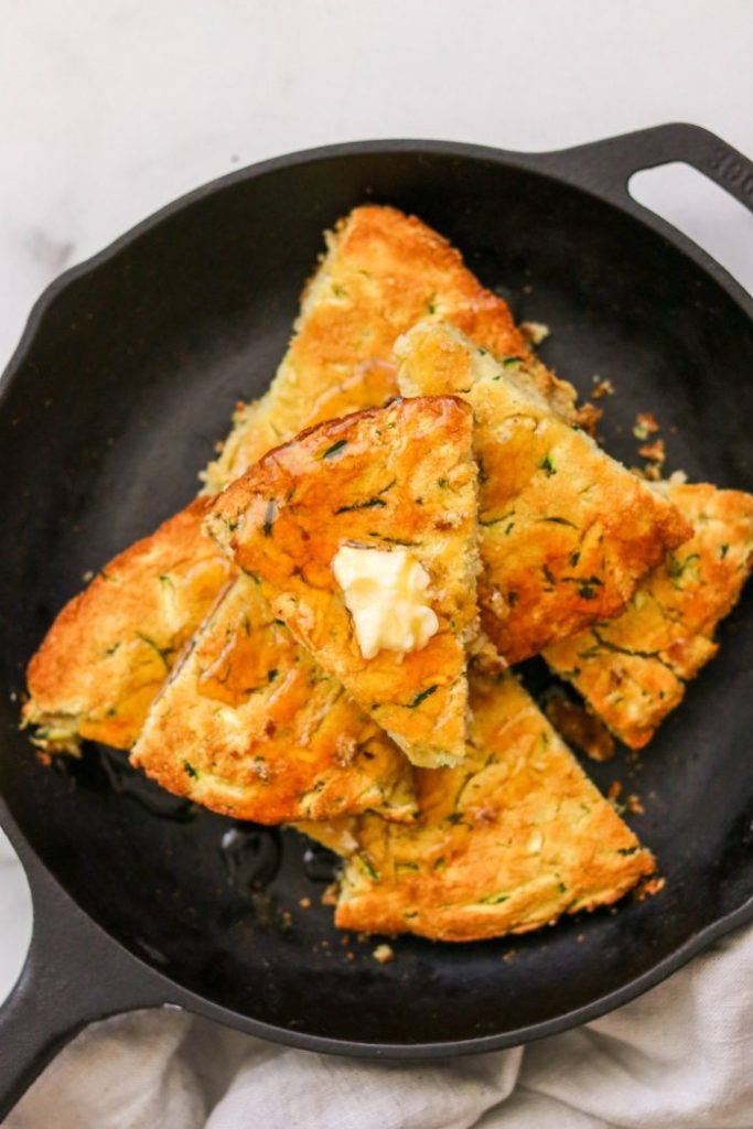 Paleo Zucchini Cornbread Without Corn in a cast iron skillet