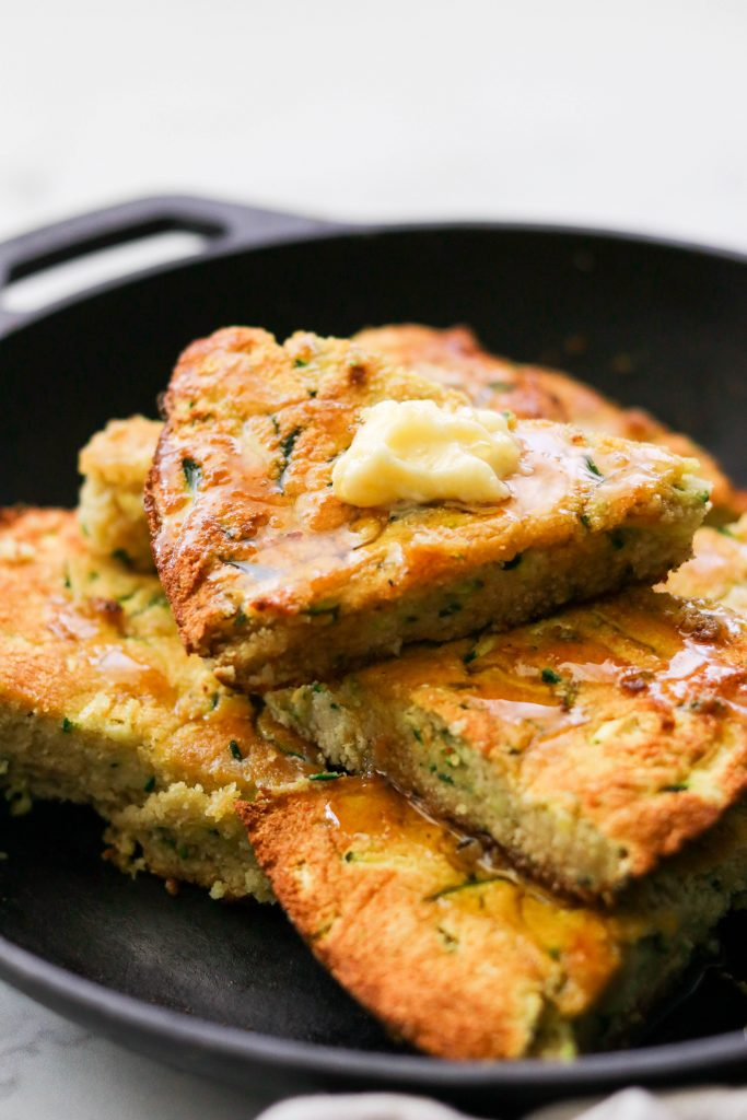 Coconut flour cornbread with zucchini specks close up