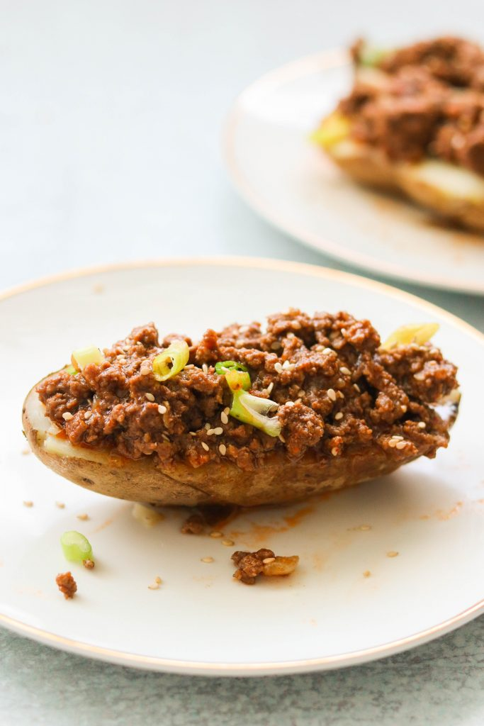 korean sloppy joes served over baked potato