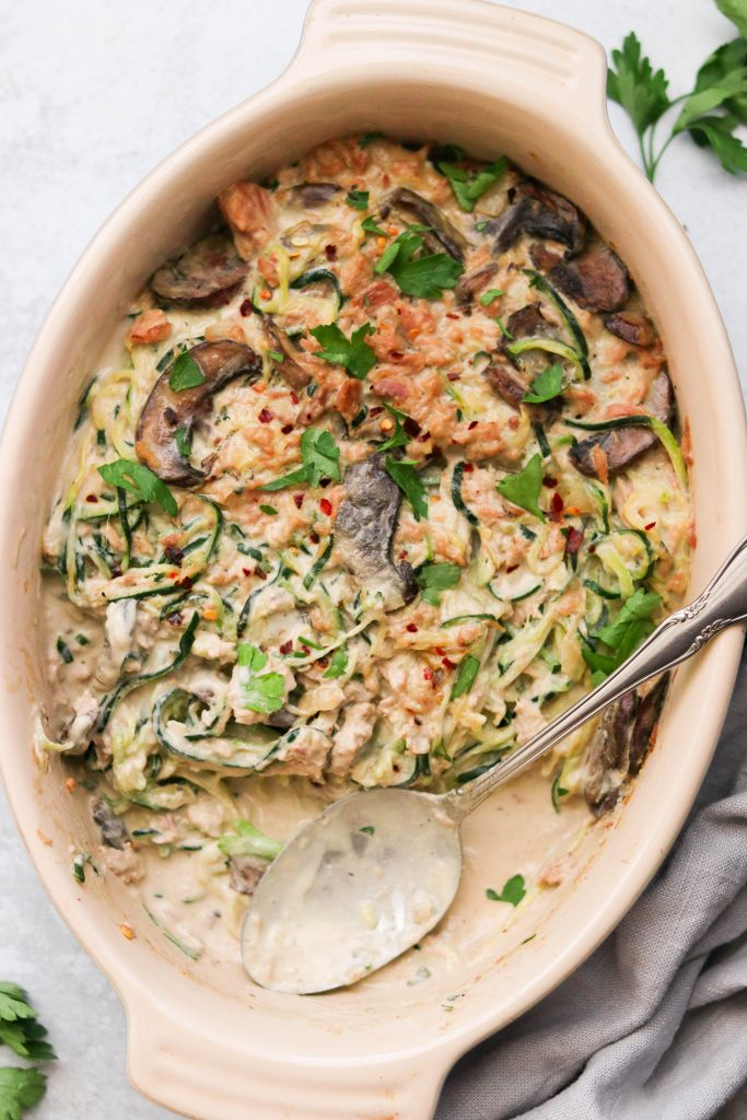 Whole30 & Paleo Tuna Zoodle Casserole closeup