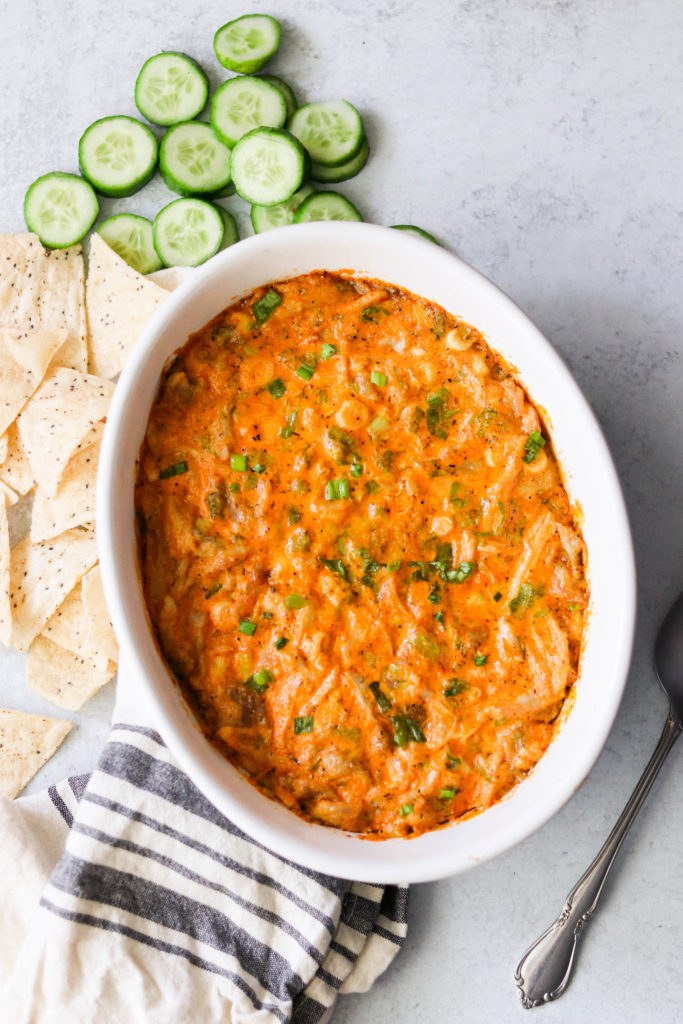 paleo buffalo chicken dip fresh out of the oven