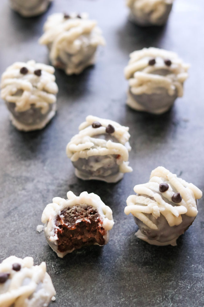 inside of paleo and veganchocolate cake pops