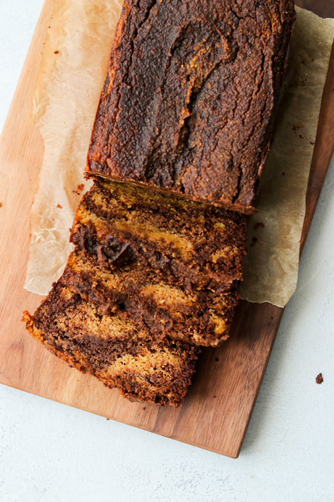 top view of marbled paleo chocolate pumpkin bread
