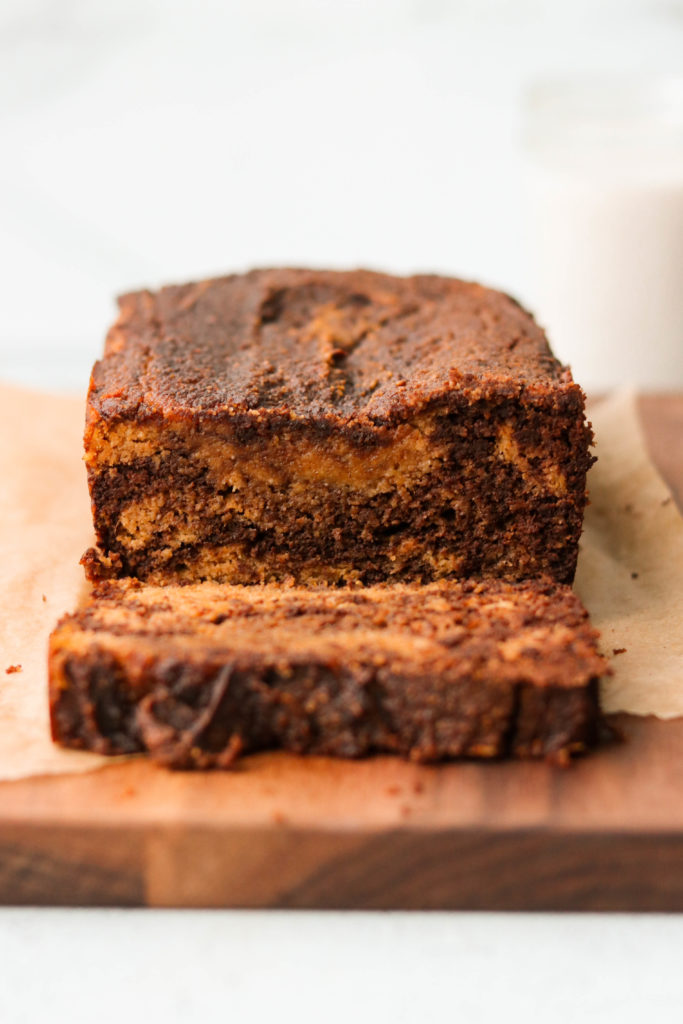 sliced chocolatey paleo pumpkin bread recipe