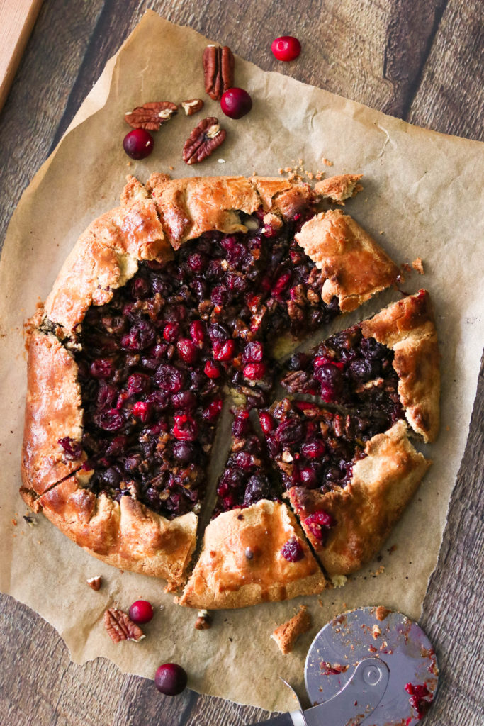paleo cranberry galette cut into slices