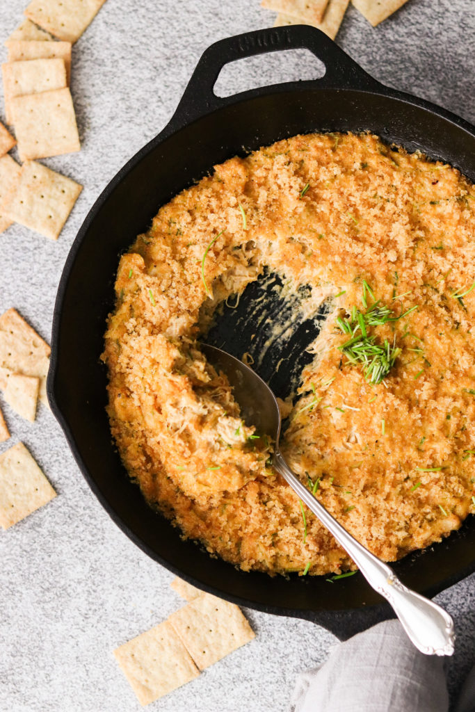 spoon in paleo crab dip