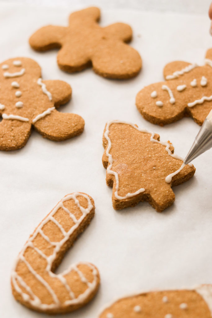 Icing the Paleo cut out cookies
