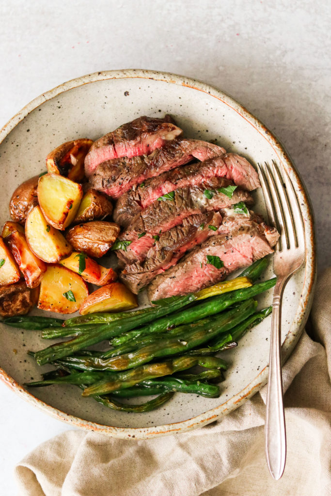 Sheet Pan Steak and Potatoes with Green Beans from What Great Grandma Ate
