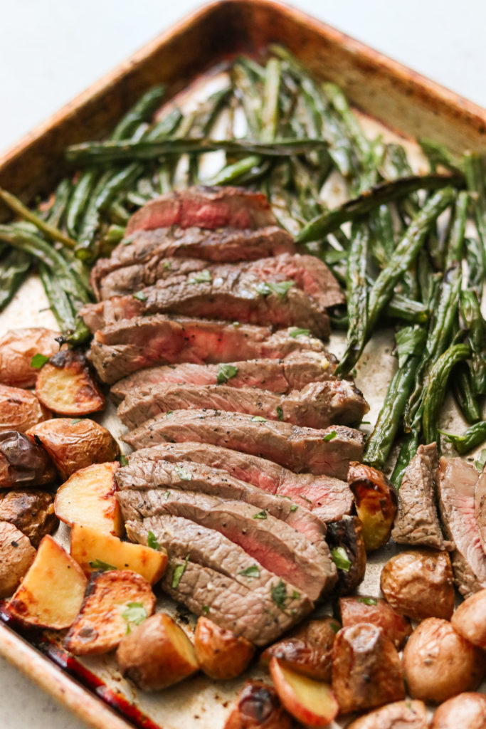Sliced Steak sheet pan dinner
