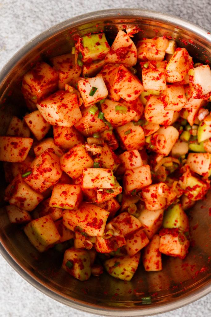 korean radish kimchi mixed in a bowl
